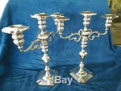 Vntg Pair Sterling Silver 13 1/2 '' Tall 3 Chandeliers Candélabres Pondéré Aprx 4.5lb