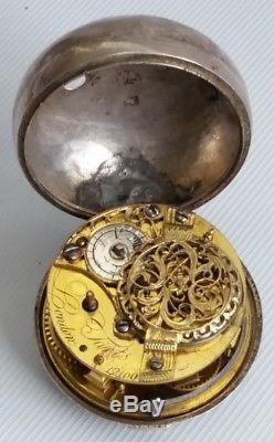 Vtg 1771 George III Tarts Of London - Montre De Poche À Boîtier Avec Pendentif En Argent Repoussé