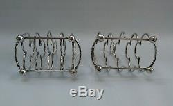 Vtg 1896 Paire Hukin & Heath Dresser Racks Club Toast Trèfle Argent Massif 12174