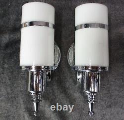 Vtg 1930 Paire De Machines Âge Art Déco Chrome Sconces Cylindre Restaurer