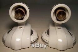 Vtg Art Déco Applique En Porcelaine De Luminaire Argent À La Paire De Deux Paires De Fils Rewired USA # C86