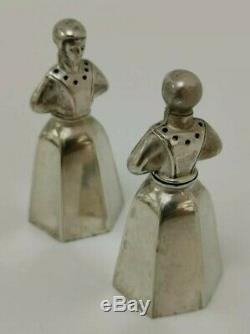 Vtg C1900 Snm Nouveauté Paire De Lady Figural Solide Pepper Shakers En Argent Sterling