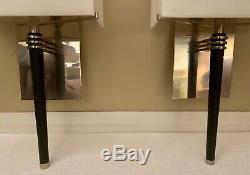 Vtg Charles Paris Sconces Feux Paire Wall (2) Nickel & Ebony 4500 $ Moderne Au Détail