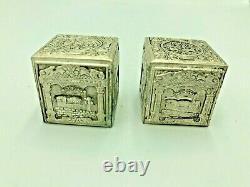 Vtg Judaica Magnifique Paire De Plaques D'argent Boîtiers En Téfiline Bezalel Moshe Murro