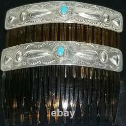 Vtg Navajo Turquoise Hair Comb Paire Sterling Silver Stamped Décoré