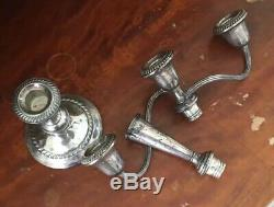 Vtg Paire 11,5 Gotham 3-light En Argent Sterling Weighted Candélabres Bougeoirs