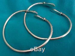 Vtg Paire Ac Bracelets De Bracelet En Argent Sterling Avec Serpent Antillais De La Jamaïque De 56,5 G