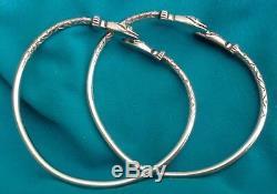 Vtg Paire Ac Jamaica West Indian Serpent 56.5g Sterling Silver Bracelets Bangle