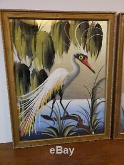 Vtg Paire De Peintures D'oiseaux Tropicaux Du Siècle Dernier Au Tableau D'argent Encadré