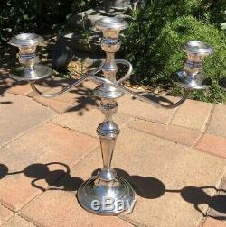 Vtg Paire Fisher 361 Argent Sterling Piece Convertible 3 Bougie Candelabres 14