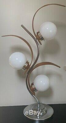 Vtg Paire Grandes Lampes Milieu Du Siècle Globes Modernes En Chrome Demi-sphères En Bois Courbé