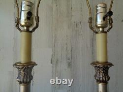 Vtg Paire Heyco Silver & Gold Buffet Lampes Lampes De Table Hollywood Regency 35 Haut