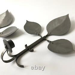Vtg Swedish Leaf Candle Holder Wall Sconce Pair Pewter Silver Metal Suède MCM
