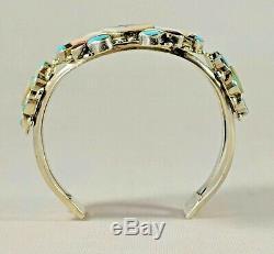 Zuni Sun Visage Bracelet, Argent Sterling Vintage Amérindien Inlay Brace