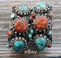 (b) Paire De Manchettes Vintage En Argent Massif Turquoise Corail Népal Tibet